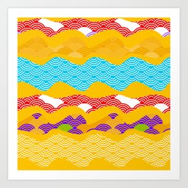 Summer bright pattern  scales simple Nature background with Chinese wave circle pattern Art Print