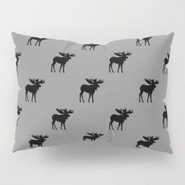 Bull Moose Silhouette - Black on Gray Pillow Sham