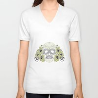 sugar skulls V-neck T-shirts featuring Sugar Skulls by Zen and Chic