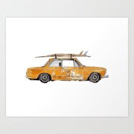 Old Yellow surf car Art Print