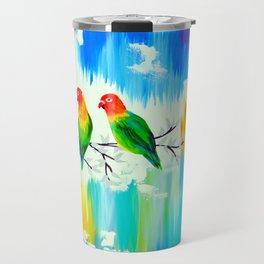 Lovebirds on a branch Travel Mug