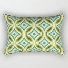 Green, Turquoise & Brown Circular Geometric Retro Pattern Rectangular Pillow