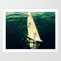 sailboat Art Prints featuring Sailboat by Kazumi