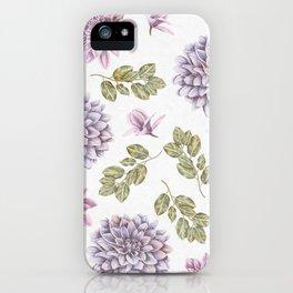 Lavender Rose Garden Floral Pattern iPhone Case