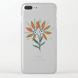 Cute Eyes Flower Monster Clear iPhone Case
