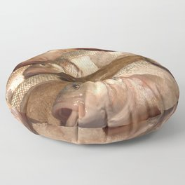 Variety of Fresh Fish Seafood on Ice 2 Floor Pillow