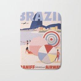 Vintage Brazil Poster Bath Mat
