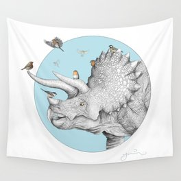 Triceratops and Birdies Wall Tapestry