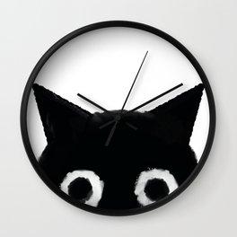 Spooked Kitty Black Creepy & Cute Cat Wall Clock