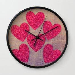 Red Hearts #retro Wall Clock