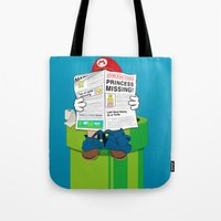 super mario Tote Bags featuring Mario by Altay