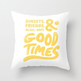 Sunsets Vintage Yellow Throw Pillow