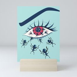 Creepy Red Eye With Ants Mini Art Print