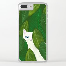 Jungle Cat white cat in leaves artwork by Tascha Clear iPhone Case