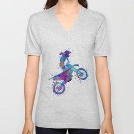 Girl Motocross Colorful Blue Watercolor Art Motosport Gift Unisex V-Neck