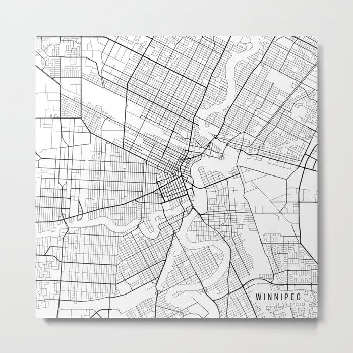 Winnipeg Map, Canada - Black and White Metal Print