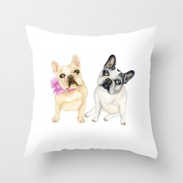 French Bulldogs adorable head tilt fawn and black and white frenchies must have gift for pet lovers Throw Pillow