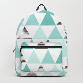 Black Stripes and Mint Triangles Backpack