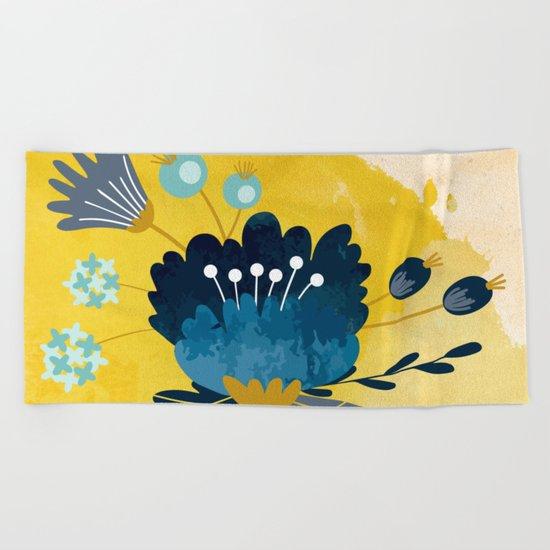 Yellow Acuarela Blue Flower Beach Towel