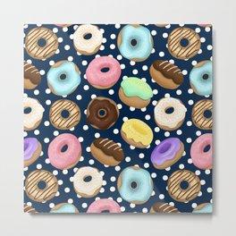 Donuts Love Pattern Metal Print