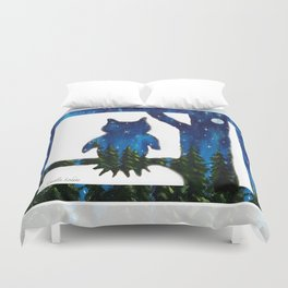 Owl Silhouette with Night Forest Duvet Cover