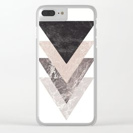 Geometric Shapes. Marble Triangles. Clear iPhone Case