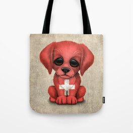 Cute Puppy Dog with flag of Switzerland Tote Bag