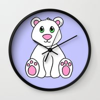 polar bear Wall Clocks featuring Polar Bear by BlackBlizzard