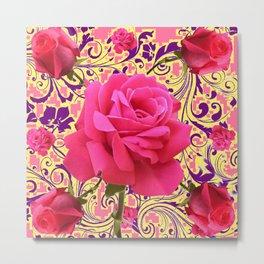 PINK ROSE FLOWERS ON  PINK & YELLOW FILIGREE Metal Print
