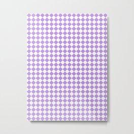 Small Diamonds - White and Light Violet Metal Print