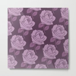 Big Pink Rose Pattern on Plum Metal Print