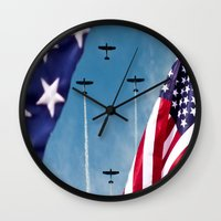america Wall Clocks featuring America by TexasArt