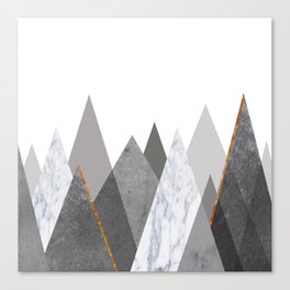 Marble Gray Copper Black and White Mountains Canvas Print