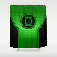 green lantern Shower Curtains featuring Green Lantern by MiliarderBrown