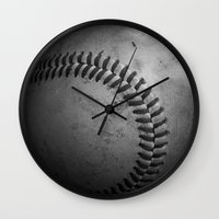 baseball Wall Clocks featuring Baseball by Christy Leigh