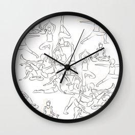 Yoga Asanas black on white Wall Clock
