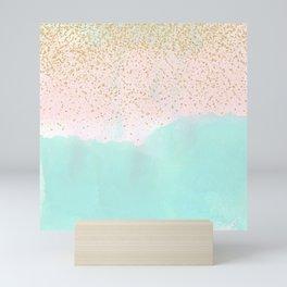Watercolor abstract and golden confetti design Mini Art Print