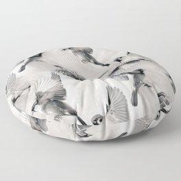 Sparrow Flight - monochrome Floor Pillow
