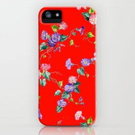 morning glories on red iPhone Case