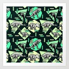 90's Dinosaur Skeleton Neon Pattern Art Print