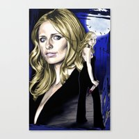buffy the vampire slayer Canvas Prints featuring Buffy the Vampire Slayer by odysseyart