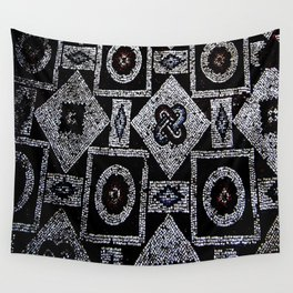 Black White Blue Red Mosaic Print Wall Tapestry