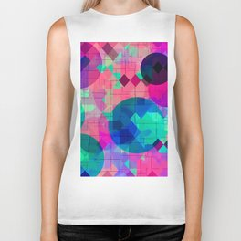 geometric square pixel and circle pattern abstract in pink blue green Biker Tank