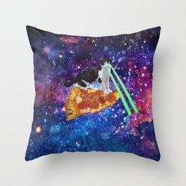 Galaxy Laser Beam Eyes Cat on Pizza Throw Pillow