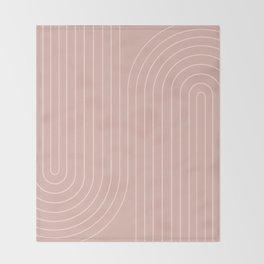 Minimal Line Curvature - Vintage Pink Throw Blanket