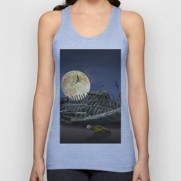 Moon and Wooden Shipwreck with Gulls Unisex Tank Top