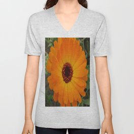 Orange Husbandman's Dial Marigold Flower Unisex V-Neck