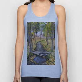 White river. Autumn forest Unisex Tank Top