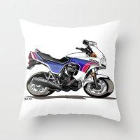 honda Throw Pillows featuring 1983 Honda CX650TD Turbo by Saddle Bums