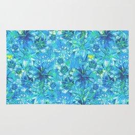 Deep Blue Sketchy Flowers Rug